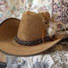 SAN ZENO Suede Leather Cowboy Type Hat Plainsmen Sz Sm
