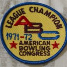 ABC BOWLING PATCH League Champion 1971 1972 Season
