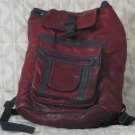 BACKPACK Knapsack Daypack Soft Red Colored Genuine Leather Used