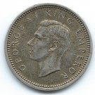 COIN MONEY New Zealand 1943 King George 3 Pence Silver