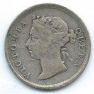 COIN MONEY Hong Kong 1894 5 cents Queen Victoria Silver