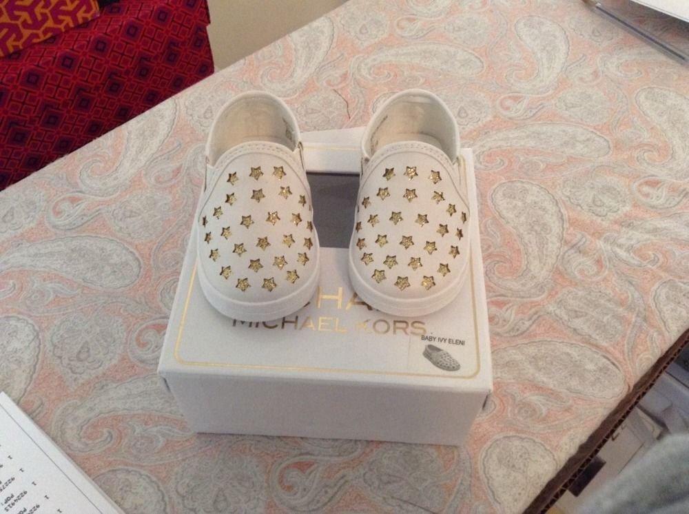 Michael Kors Baby Ivy Eleni White Gold Star Sneaker Shoes