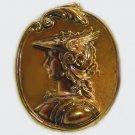Vintage Victorian Brass Mercury Winged Helmet Cameo Metal Stampings 42x33mm GL4