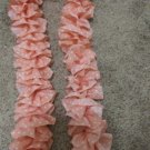 Peach With White Polka Dots Ruffle Scarf