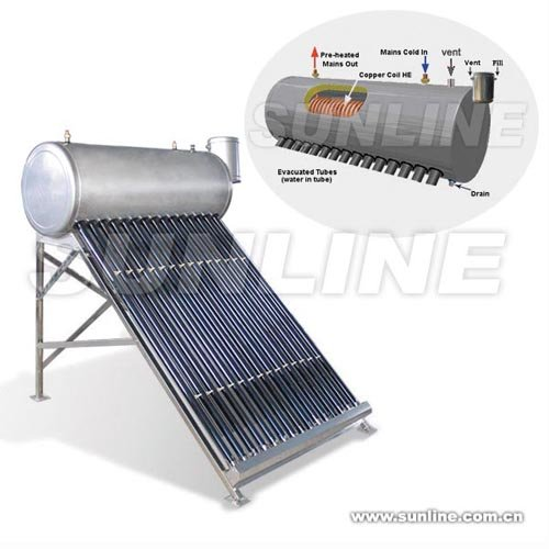 Presure Tubular Solar Water Heater with Copper Coil