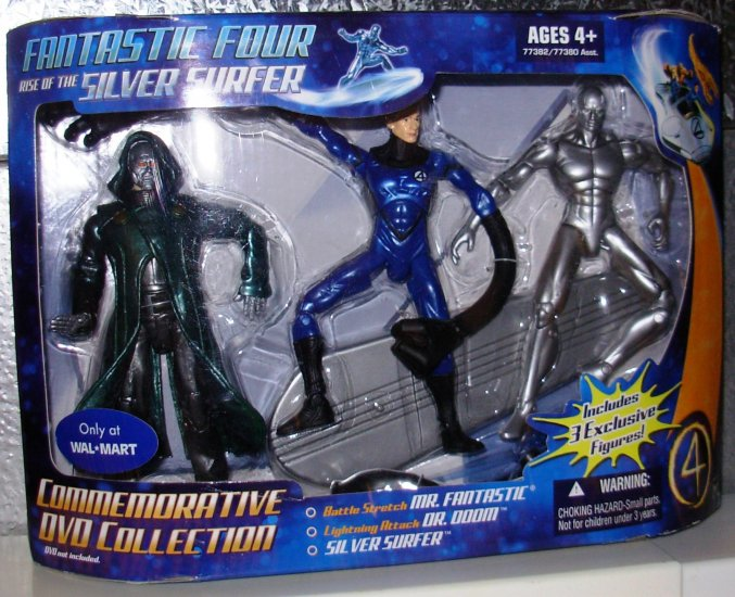 Fantastic Four 3 Pack Dr. Doom Silver Surfer & Mr Fantastic New