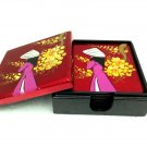 Hand Painted Square Coaster Set of 6 pcs in a container box Glossy Red Coaster Wedding Décor