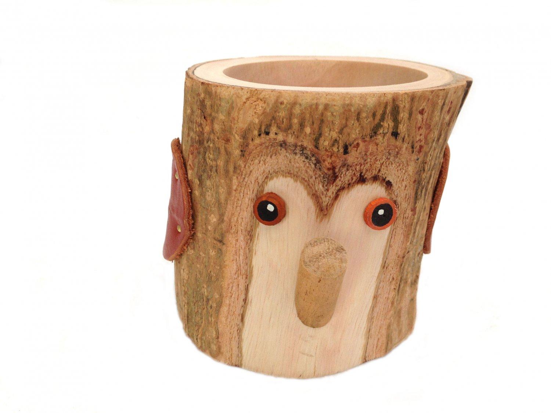Rustic Pencil Holder Owl Bark Wood Pencil Cup Tree Bark Pen Holder Desk Organizer