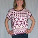 Beautiful Burgundy Cap Sleeve Boho Chic Women's Blouse Tank Top Tee Shirt