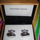 Geoffrey Beene:Silver Oval Engravable Cufflinks with Wooden Box