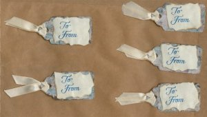 Set of 5 Blue Handmade Gift Tags