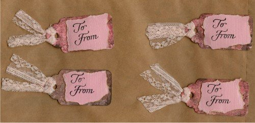 Set of 4 Pink and Brown Handmade Gift Tags