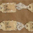 Set of 4 Tan Distressed Handmade Gift Tags