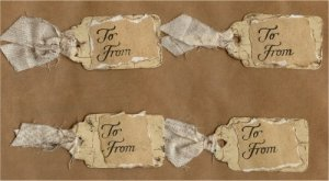 Set of 4 Tan Distressed Handmade Gift Tags