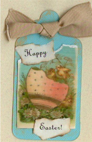 Happy Easter Handmade Scrapbook Tag