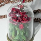 All the Queen's Roses Glass Necklace,Bottle Necklace