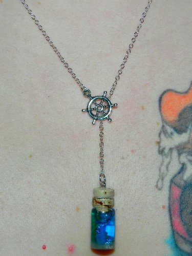 Home by the Sea, Boat Anchor Lariat, Bottle Necklace