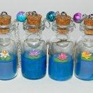 Zenful Water Lilies,Choose Your Color, Bottle Necklace