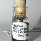 Master of Crossbows Daryl Dixon Themed Necklace, Bottle Necklace