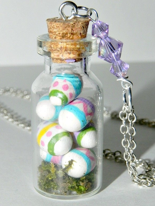 Vintage Easter Eggs Necklace,Bottle Necklace