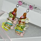 Tick Tock, It's Tea Time! Hand Sculpted, Handmade Earrings