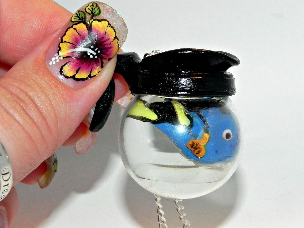 Did I forget to turn off the coffee pot? Handmade, Glass Coffee Pot Necklace