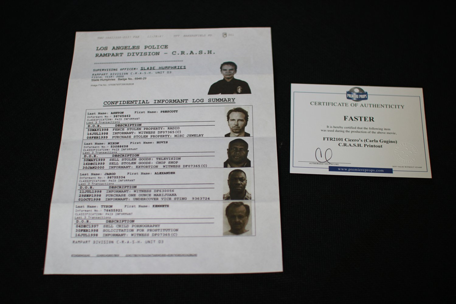 Faster C.R.A.S.H. fax printout movie prop with Billy Bob Thornton on it