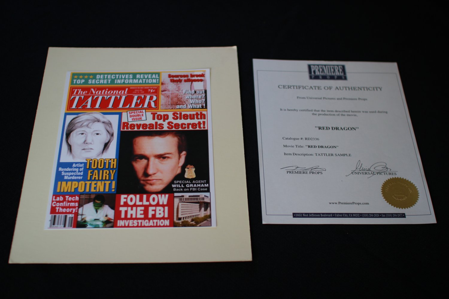 Red Dragon TATTLER Sample with ED Norton on it
