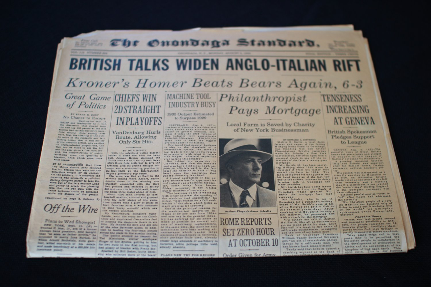 Dustin Hoffman prop Newspaper from Billy Bathgate as Dutch Schultz