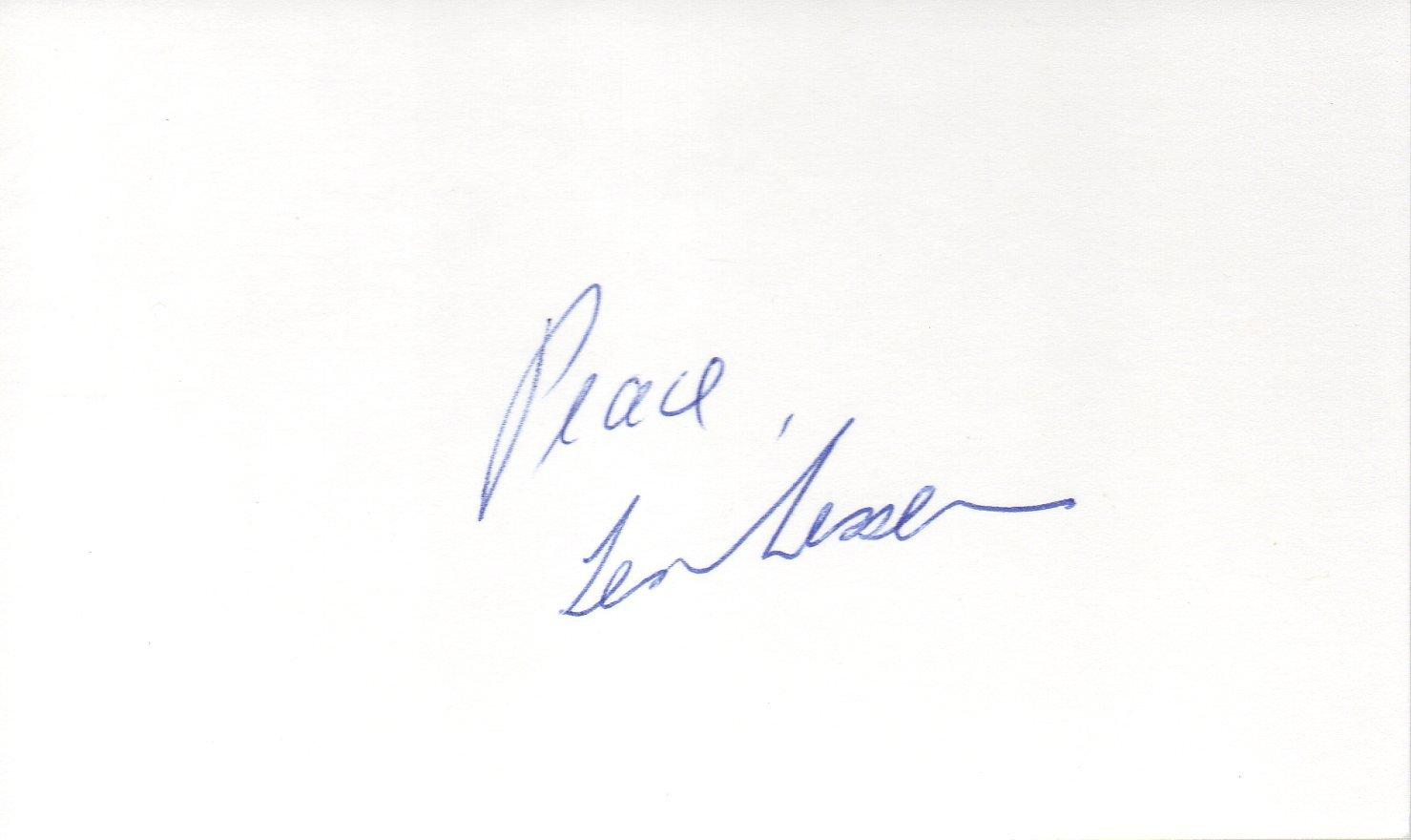 Len Lesser hand signed 3x5 card Uncle Leo Seinfeld