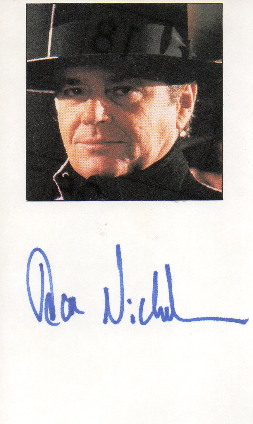 Jack Nicholson hand signed 3x5 card Joker Batman