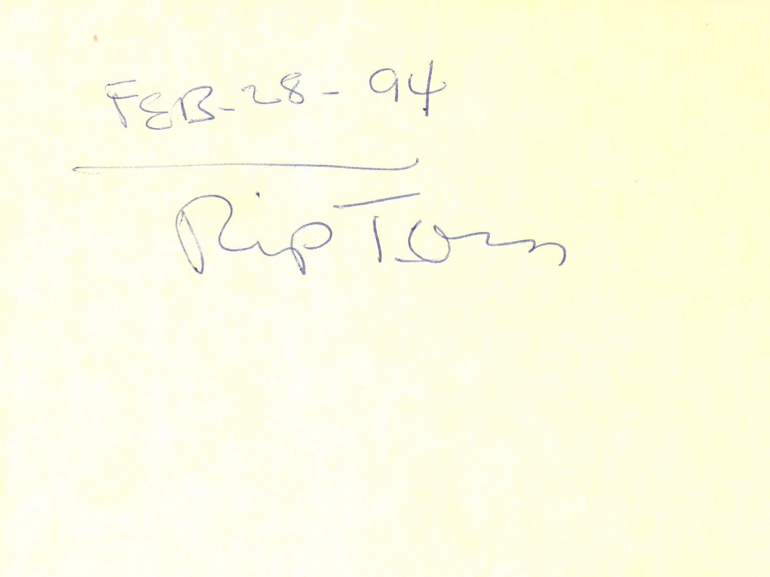 Rip Torn hand signed 4x6 album page
