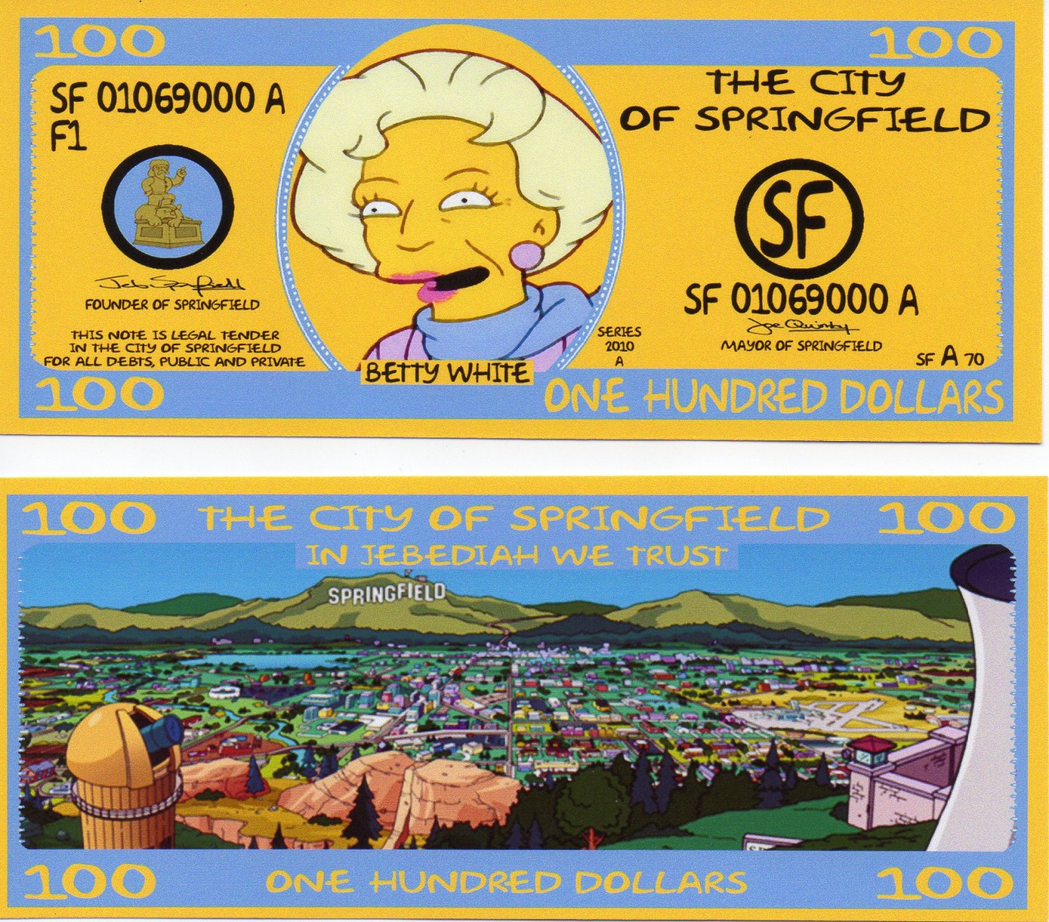 Betty White The Simpsons prop 100 dollar Bill