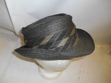 Vintage Men's Biltmore Fedora Black Straw Hat w/ Ribbon Sz 6 7/8 Imported Milan