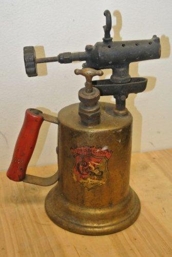 Vintage CLAYTON & LAMBERT Mfg. Brass Blow Torch, Wood Handle