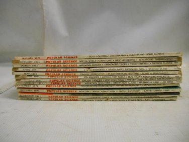 12 Vintage 1971 Popular Science Magazines Complete Year Set w/ Address Stickers