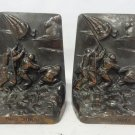 Collectible Set of 2 WWII 1950's Iwo Jima Gray Metal Large Bookends