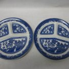 2 Vintage SOHO Pottery Ltd. Cobridge Flow Blue Dinner Plates, 3 Sectioned