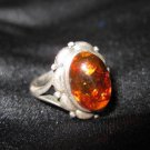 Vintage Sterling Silver 925, Amber Women's Ring Size 8
