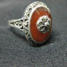 Antique Sterling Silver 925, Diamonds & Orange Moonstone Women's Ring, Sz 9