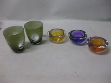 5 Glass VOTIVE, CANDLE HOLDERS, Multicolored