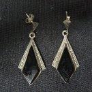 Vintage 925 Sterling Silver, Onyx Stone Woman's Pair of Earrings