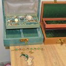 2 Vtg Jewelry Boxes, Lot Assorted Costume Jewelry, Disney, Reed Barton, Seuss