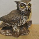 Vintage Ceramic Brown Painted Owl Figurine