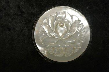 Vintage Ladies Mother of Pearl Pressed Powder Makeup Compact, Lotus Flower