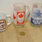 Lot 4 Vintage OLYMPIC Games Coffee Mugs, Beer Glasses, Transit Token