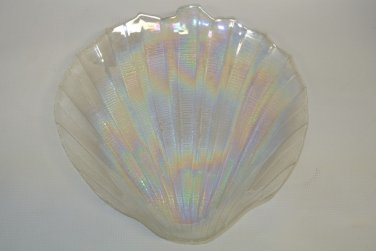 Vintage Art Glass Irridescent Half Clamshell Shaped Serving Plate, Platter, Tray