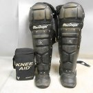 Pair 2 Used Macgregor B61 Double Knee Varsity Catcher Leg Guards w/ Knee Aids