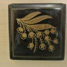 Vintage Majestic USA Ladies Pressed Powder Makeup Compact, Black, Gold Etched