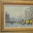 Vintage City Scape Oil Painting, Gold Gild Carved Wood Frame, Signed